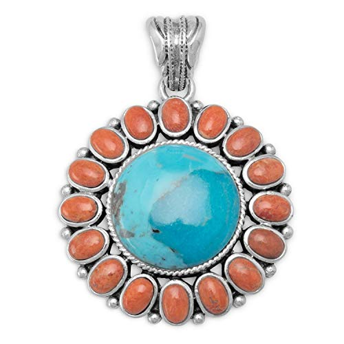 Reconstituted Turquoise and Coral Sunburst Pendant Charm Pendant Womens Beauty Jewelry Gift Sterling Silver