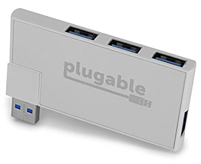 Plugable Rotating 4-Port USB 3.0 Mini Travel Hub (Windows, macOS & Linux Support, USB 2.0 Backwards Compatible) by Plugable