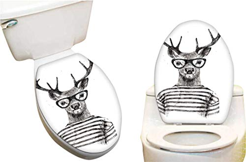 SeptSonne Toilet Cover Sticker Dresse up Deer in Hipster Style Creative Toilet Cover Stickers 6