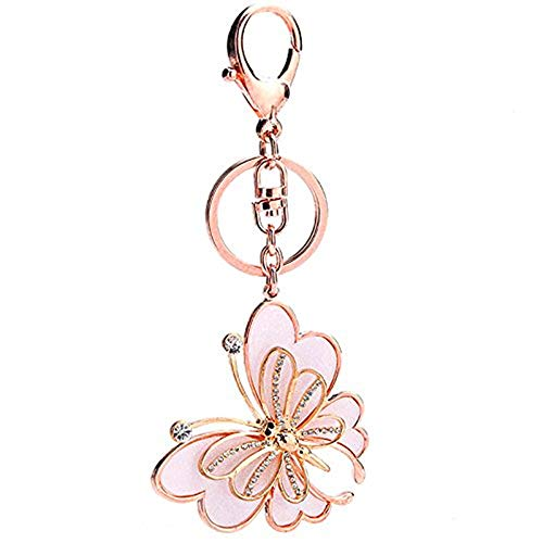 Jewel Keychain - Bling Bling Metal Crystal Rhinestone Artificial Jewel Keychain Car Phone Purse Bag Decoration Holiday Gift White Butterfly