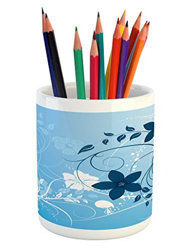 Lunarable Floral Pencil Pen Holder, Essence Flower Petals Background with Scrolls Eco Botany Fresh Tones Picture, Printed Ceramic Pencil Pen Holder for Desk Office Accessory, Navy Sky Blue