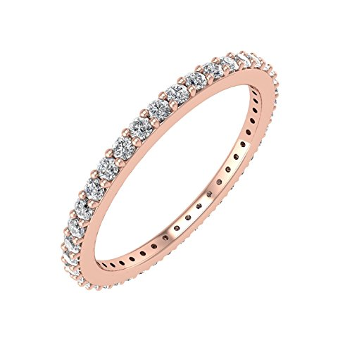 14k Rose Gold Diamond Eternity Band Ring (0.45 Carat)
