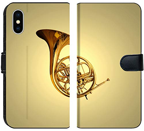 Apple iPhone X Flip Fabric Wallet Case Image of Instrument Horn Music Orchestra Musical Band Brass Jazz Sound Play French Blow Tone Art Shiny