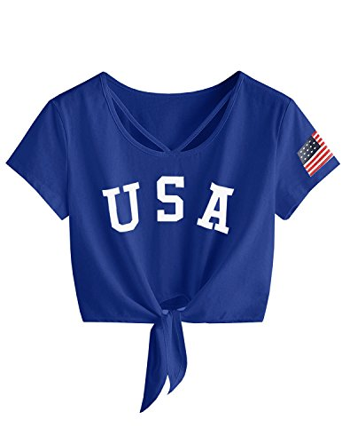 Imily Bela Womens Short Sleeve Summer Tops Cross Scoop Neck T-Shirt Knot Front USA Tees ()