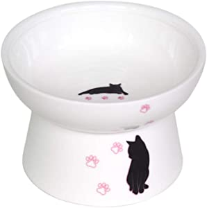 Leo Pet Food Bowls, Raised Cat Bowls Ceramic, Elevated Cat Bowls, Anti Vomiting, Stress Free, Ceramic Made, Pet Bowl for Food, Protect Pet's Spine, Dishwasher Safe, Easy to Clean