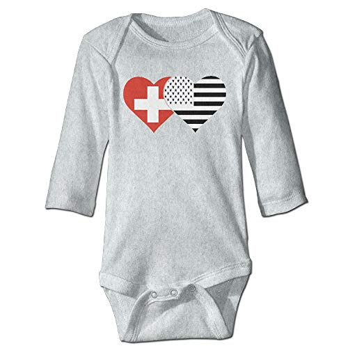 (Yoigng Babys Bodysuit Swiss Flag and American Flag One-Piece Climbing Clothes)
