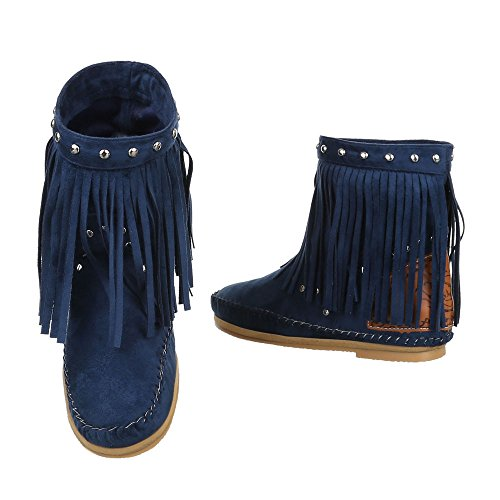 Style Design Bikerboots Bleu Chaussures Western Bottes Femme Itjziuat-145440-6852225 Vente