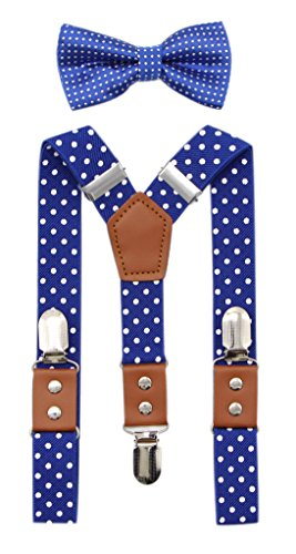 JAIFEI Suspender & Bowtie Set For Men & Boys Durable Clips & High End PU Leather (Boys(32 Inches), Dots-Royal Blue)