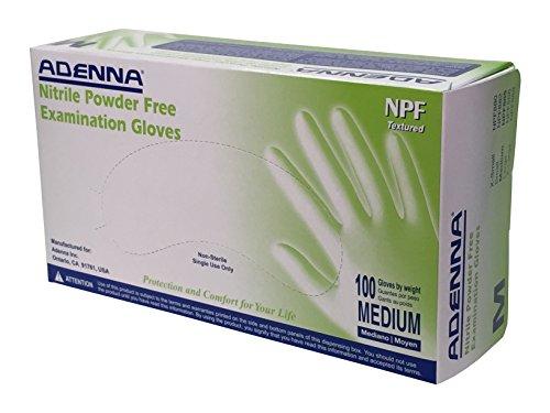 Adenna NPF 5.5 mil Nitrile Powder Free Exam Gloves (Blue, Medium) Box of 100]()