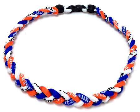 (Package of 10 Orange White Royal Blue Tornado Necklaces)