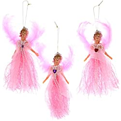 Set of 3 Valentines Day Angels Hanging Ornament Heart Gem Pink Red Purple