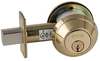 Schlage B662P 605 C123 Keyway B600 Series B600 Grade 1 Deadbolt Lock, Double Cylinder Function, C Keyway, Bright Brass Finish