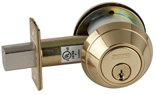 Schlage B662P 605 C123 Keyway B600 Series B600 Grade 1 Deadbolt Lock, Double Cylinder Function, C Keyway, Bright Brass Finish