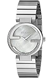 Gucci Women's YA133508 Stainless Steel Diamond-Accented Watch with Stainless Steel Bracelet