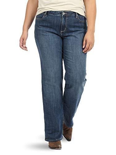 Wrangler Women's Plus Size Instantly Slimming Mid Rise Jean, Medium Blue, 18W AVG