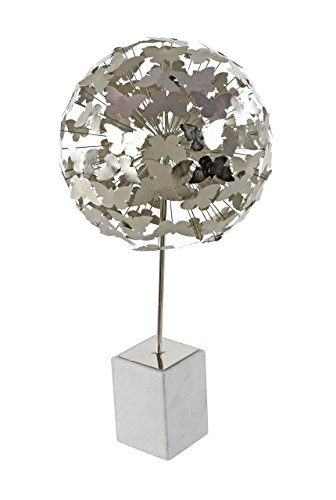 Deco 79 72952 Iron Butterfly Ball Sculpture with Marble Base 24