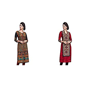 Jevi Prints Women's Dress Material (Pack of 2)(Saheli-1632&Saheli-1612_Item 1 Color Black|Item 2 Color Red_Free Size)