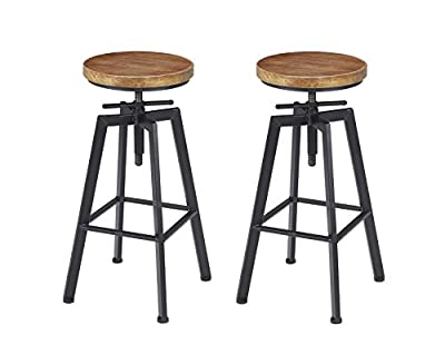 Vilavita Adjustable Wood Bar Stools with Backrest, Retro Finish Bar Chairs with Wooden Seat and Wrought Iron Frame Swivel Bar Stool