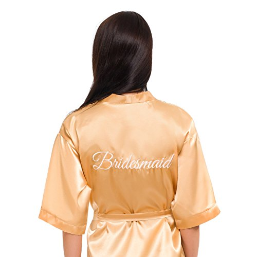 INeedThisRobe Satin Embroidered Kimono Robe for Bride, Bridesmaid, Maid of Honor (Gold - Bridesmaid in White, XS-M)