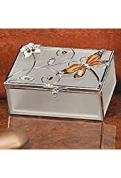 StealStreet SS-A-38110 Dragonfly Crystal Jewelry Box, Amber