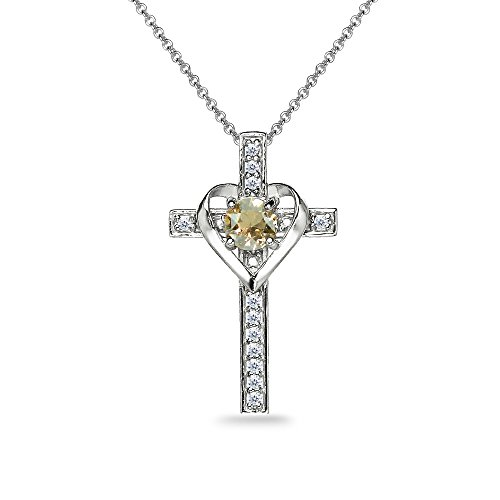 Genuine Stone Cross - Sterling Silver Golden Shadow Heart in Cross Pendant Necklace Made with Swarovski Crystals