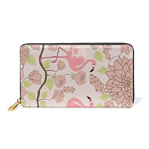 Couple Flamingos Leather Large Long Zipper Clutch Women Wallet Phone Passport Checkbook Card Holder by THENAGD
