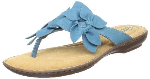 Clarks Mujeres Brisk Pixie Thong Sandalia Cuero Verde Azulado