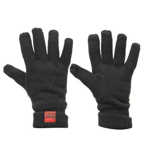 Men's Heat Holders Thermal Plain Insulated Knitted Gloves Black S/M RED -