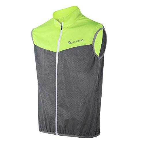 High Visibility Reflective Vest for Cycling, Windproof Safety Jersey Sleeveless | High Stretchability Sport Windcoat Men/Women with 2 Back Pockets Windbreaker for Running Walking Climbing Night Riding