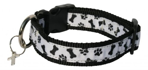A Polka Dot Life 'Gizmo' Black and White Dog Bone and Paw Print Dog Collar, XS
