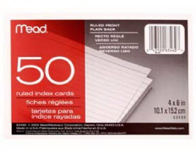 Mead 63460 Ruled Index Cards 50 Ct 4'' X 6'' (Pack of 12)