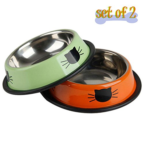 Vonsely Stainless Steel Cat Bowls with Rubber Base, Durable Raised Bowls for Small Pets, Cat Pattern Food and Water Dish, Orange/Green (Tip Mirror Dish)
