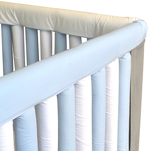 Go Mama Go Organic Teething Guard Protects Baby and Crib, Blue/White, 30'' x 12'' Set by Go Mama Go (Image #2)