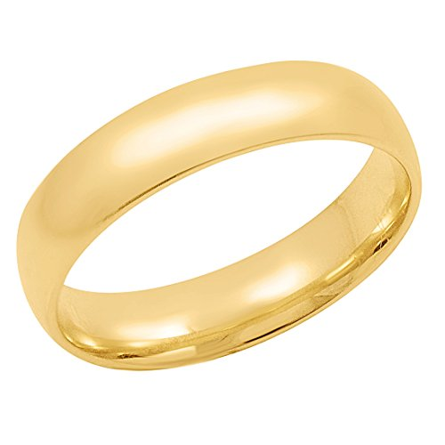 Men's 14K Yellow Gold 5mm Comfort Fit Plain Wedding Band (Available Ring Sizes 8-12 1/2) Size 9 ()