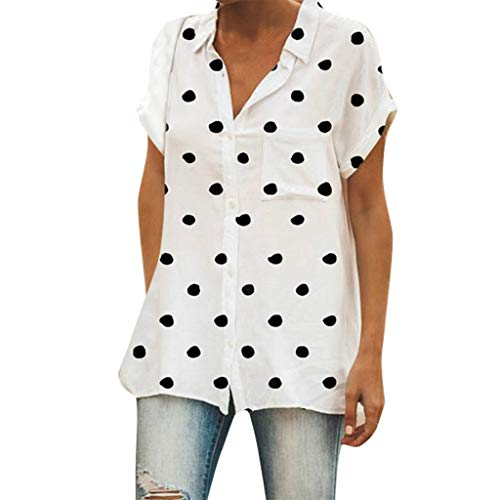 (Londony ◈ Women's Casual Polka dot Shirt Plus Size Blouse Scoop Neck Short Sleeve Tee Tops Cotton T-Shirts for Summer White)