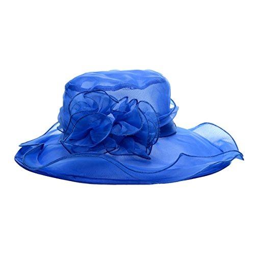 Eforstore Elegant Women Lady Vintage Gauze Kentucky Derby Sun Hat Flower Wide Brim Gauze Cap (Blue) (Gauze Vintage)