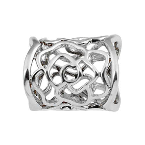 ULTNICE Women's Hollow Rose Scarf Buckle Ring (Silver) ()