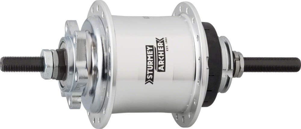 Sturmey Archer RS-RK3 3 Speed Hub: 32H 6-Bolt Disc Silver 135OLD