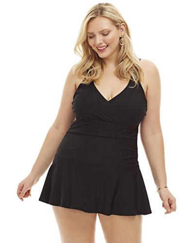 Always For Me Women's Plus Size Wrap Bust One Piece Swimdress - Ladies' Bathing Suit & Swimwear - Black - Nicole, 16 Plus