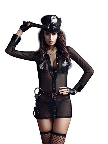 [Sexy Wild Slutty Cop Uniform Complete Costume Set Nightie Racy Lingerie US Seller (style # 1)] (Sexy Cop Uniform)