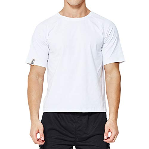 OrchidAmor Men's Fashion T-Shirt and Short Sleeve Shirt with Round Neck and Slide Shoulder White ()