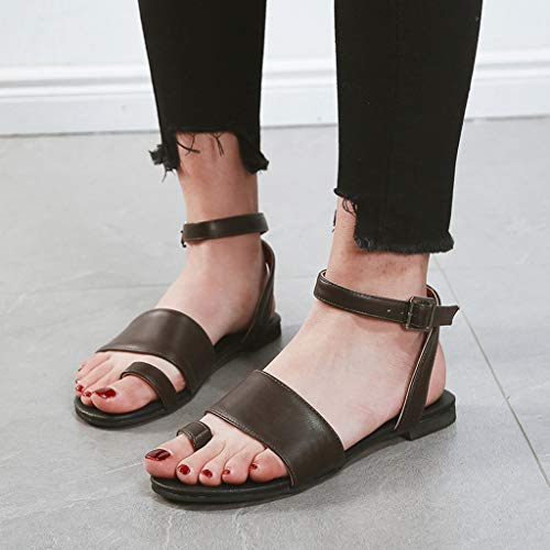 ◕‿◕Watere◕‿◕ Women's Summer Fish Mouth Open Toe Beach Breathable Flat Buckle Strap Sandals Rome Shoes Black ()