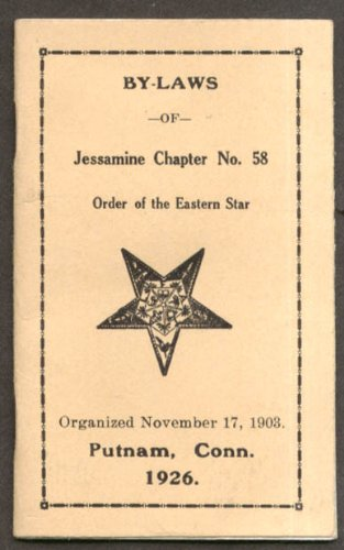 Order Eastern Star Jessamine Chapter #58 Putnam CT By-Laws booklet 1926
