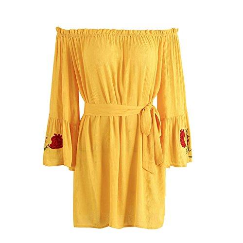 TPUOIU Fashion Women elegant long flare sleeve loose dress vestidos Red bow belt summer dress Yellow L