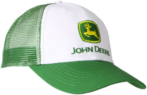 John Deere Embroidered Logo Mesh Back Baseball Hat - One-Size - Men's - White -