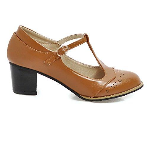 UH Femmes Mi Chaussures Confortable Rond T Talon Escarpins Bar Bout Marron UUwn6rxaSq