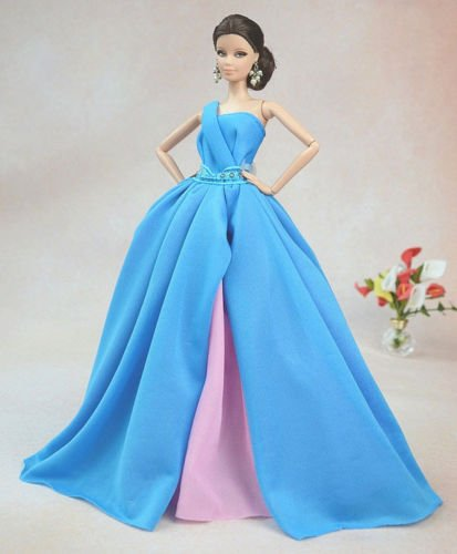Blue Fashion Royalty Princess Party Dress/Clothes/Gown For Barbie Doll S155