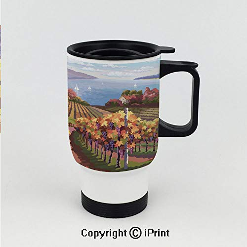 Stainless Steel Insulated Vacuum Travel Car Cup for Best Gift,Countryside Landscape in Vineyard Agriculture Winemaking Season Grapes in Farm Art Print,Stainless Steel 15 OZ Travel Car Cup ()