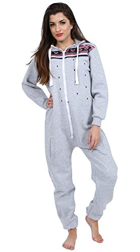 Juicy Trendz Ladies Printed Onesie Hoodie Women's Jumpsuit All In One H Aztec Grey Small
