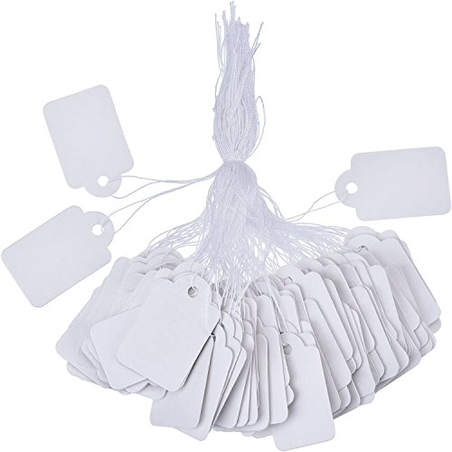 (Outus White Marking Tags Price Tags Price Labels Display Tags with Hanging String, 500 Pack, 35 x 22 mm)